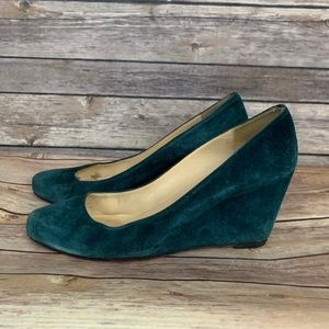 Christian Louboutin Teal Suede Wedge Pump